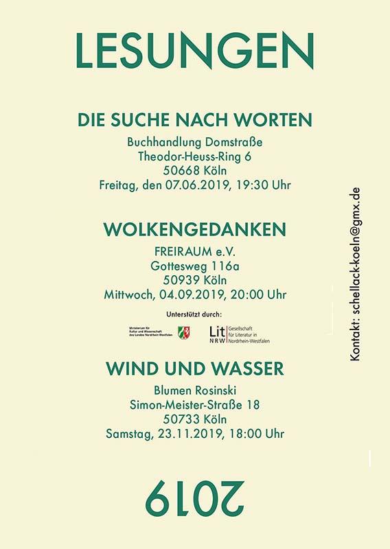 """Einladungskarte zur Lesung der Gruppe """"Schellack"""" (hinten)"""