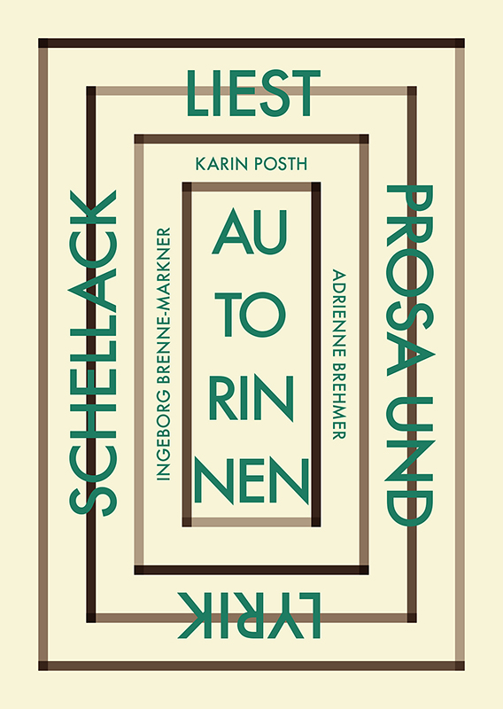 """Einladungskarte zur Lesung der Gruppe """"Schellack"""" (Vorderseite)"""